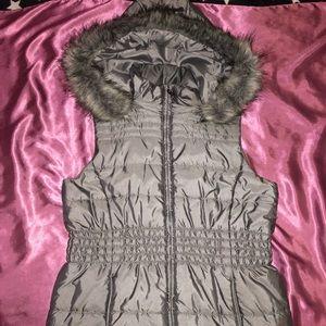 Metallic gray faux fur trimmed vest